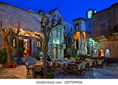 "CHIOS ISLAND, NORTH AEGEAN, GREECE- April 3, 2012. The square of the medieval village of Mesta, one of the most beautiful ""Mastichochoria"" (literally ""mastic villages"") ofthe island"