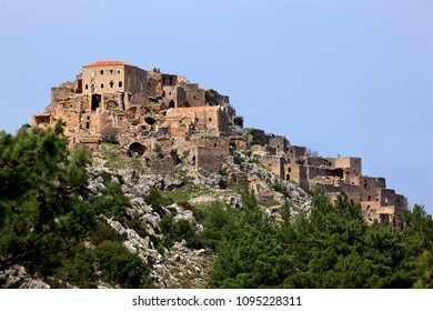 "CHIOS ISLAND, NORTH AEGEAN, GREECE. The abandoned village of Anavatos, often called the ""Mystras of the North Aegean"""