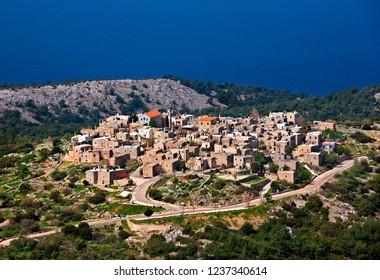 CHIOS ISLAND, NORTH AEGEAN, GREECE. Panoramic view of Avgonyma village.