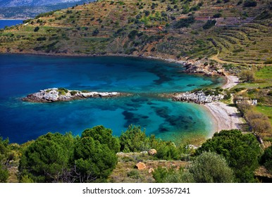 "CHIOS ISLAND, NORTHEAST AEGEAN, GREECE. Didima (literally ""twins"") beach on the west side of the island"
