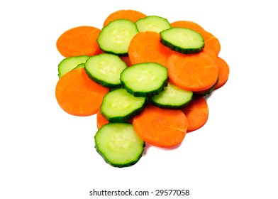 Chip of carrot and cucumber