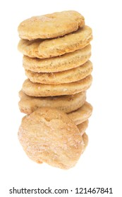 Chip cookie isolated on white background.