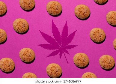 chip cookies with marijuana isolated on pink background. pattern