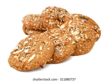 chip cookies with nuts close up on white background