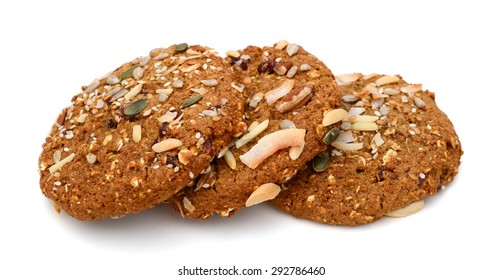 chip cookies with nuts isolated on white