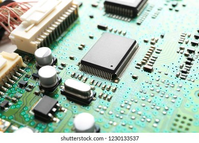 chip, microcircuit board close up