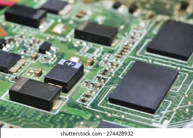chip on motherboard (mainboard) with controllers, ports and wires