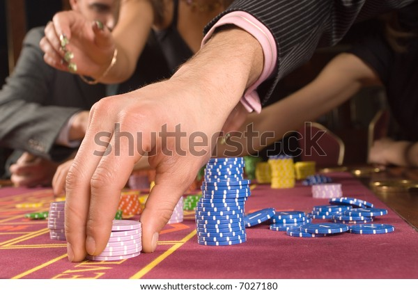 Chip on a roulette in a casino