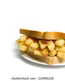 Chip Sandwich on a plate isolated