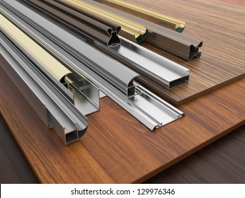 Chipboard with aluminum profiles.