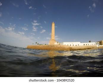Chipiona lighthouse and  beach in Cadiz province Spain