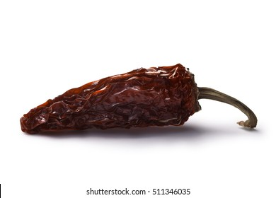 Chipotle morita, a whole smoked overripe Jalapeno pepper. Clipping paths, shadow separated