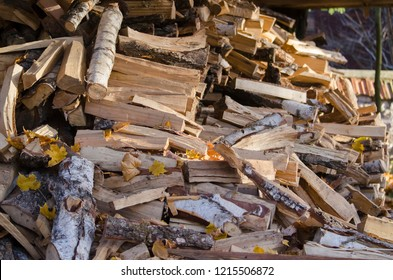 Chipped and sawn wood for kindling the furnace. House heating.