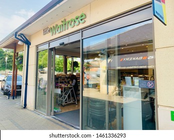 Chippeham, Wiltshire, UK, July 25, 2019. Waitrose shop store which advertises its free tea or coffee to its customers