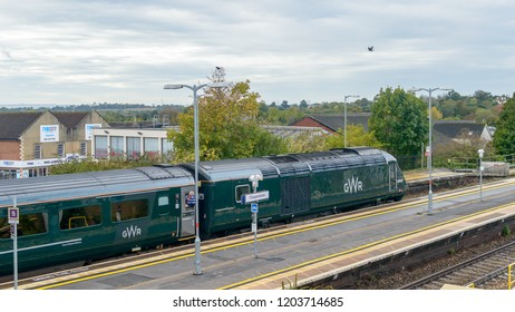 Chippenham, England - Oct 13, 2018: Great Western Railway Train at Chippenham Train Station, View from top, shallow depth of field horizontal photography
