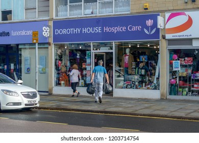 Chippenham, England - Oct 13, 2018: Dorothy House Hospice Care Charity Shop at The Bridge Chippenham, shallow depth of field horizontal photography