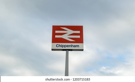 Chippenham, England - Oct 13, 2018: Chippenham British Rail sign against cloudy sky, shallow depth of field horizontal photography