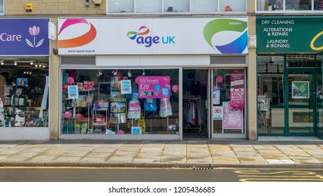 Chippenham, England - Oct 13, 2018: Age UK Charity Shop at The Bridge Chippenham central view, shallow depth of field horizontal photography