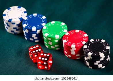 Chips and cards on casino table
