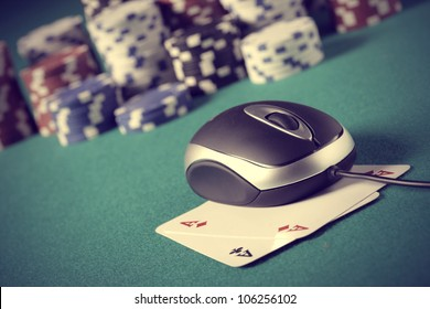 Chips and cards poker in an on line environment.