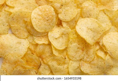 chips close up.  appetizer, thin slices of potato