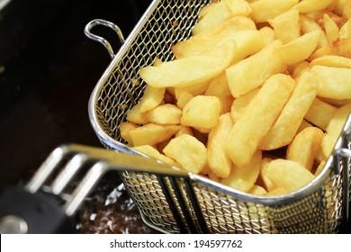 chips frying in frier