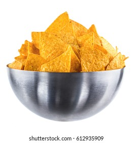 Chips Nachos in an iron bowl on isolated background