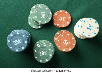 Chips On Color Table In Casino