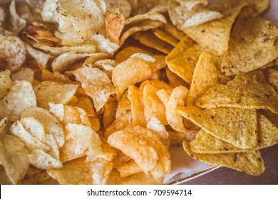 Chips potato on table.