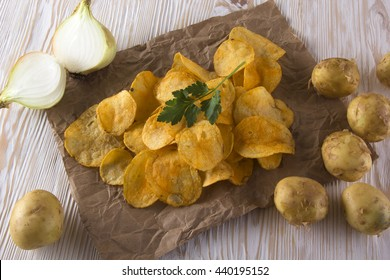 Chips, raw potato and onion.