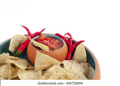 chips and salsa with peppers