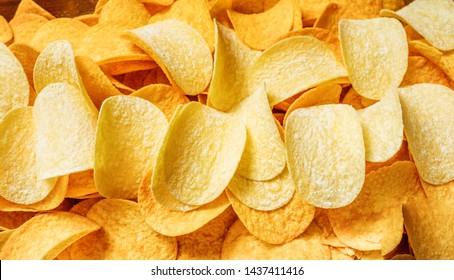 Chips texture crisp potato background. Chips snack texture background