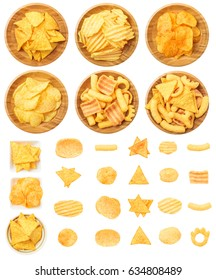 Chips, Tortilla, and Corn Puffs Isolated on White Background. Contain potato chips, tortilla chips, corn puffs, bowl with different types of snacks.
