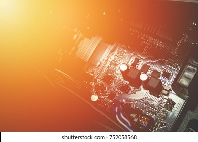 Chipset or Circuit Electronic on Computer Mainboard, Abstract Technology background. Vintage effect added