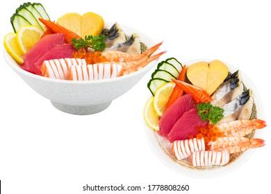 chirashi japanese food sashimi tuna donburi.