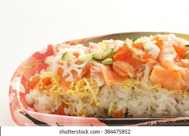 Chirashizushi on food tray for take out food image