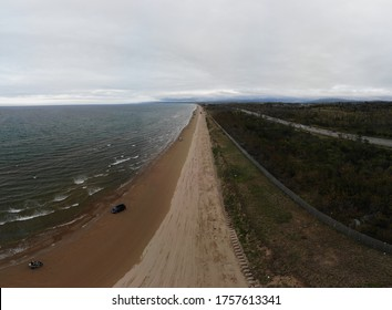 Chirihama Nagisa Driveway, Ishikawa / Japan - Circa 2019: Aerial Drone Photograph of the Only Beach Driveway (8 km, scenic road) in Japan You Can Drive Along.