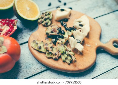 Chirimoya and tropical fruit/toned photo