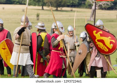 Chirk Wales UK - September 2 2018: Medieval re-enactors dressed in armour and costumes of the 12th century equipped with weapons of the period re-enacting the battle of Crogen 1165 in North Wales