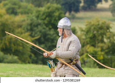 Chirk Wales UK - September 2 2018: Medieval re-enactor dressed as an archer of the 12th century equiped with a long bow re-enacting combat of the period