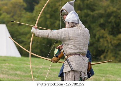 Chirk Wales UK - September 2 2018: Medieval re-enactors dressed as archers of the 12th century equiped with a long bows re-enacting combat of the period