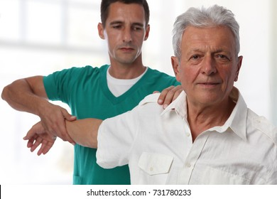 Chiropractic back adjustment, Osteopathy. Senior Male patient suffering from back pain and physical therapist