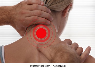 Chiropractic back adjustment. Osteopathy, sport injury rehabilitation concept. Female patient suffering from back pain and physical therapist