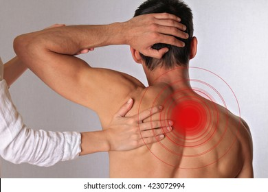 Chiropractic, osteopathy, dorsal manipulation.Therapist  doing healing treatment on man's back. Alternative medicine, pain relief concept