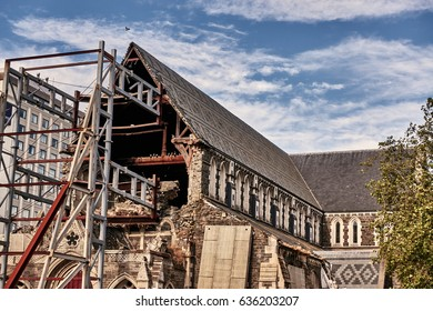 Chirstchurch Cathedral, New Zealand - Feb 12, 2017: view of the Cathedral damaged nave with the steel structure preventing the rest of the stone body from a new collapse, after the 2011 earthquake.