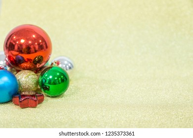 Chirstmas ball on gloden background for celebration and festival. Chirstmas  festival concept. copy space.