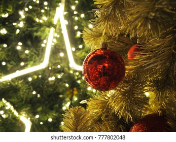 Chirstmas tree decorate with star shape lights, balls, Merry Chirstmas concept.