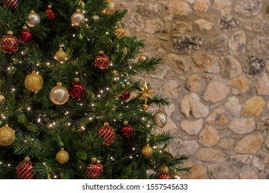 Chirstmas tree and lights and background