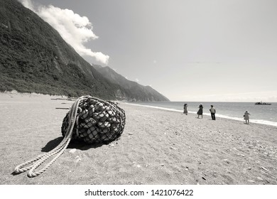 Chishingtan, Hualien,Taiwan-June 6, 2019: tourists at the Chishingtan beach. one of the Famous travel destinations of Taiwan,shot in Hualien, Taiwan