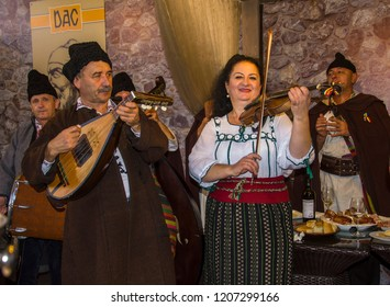 Chisinau city, Republic of Moldova, 10/06/2018. Ethno musicians sing and play musical instruments at the holiday